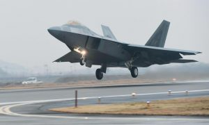 A U.S. AIR FORCE F-22 RAPTOR takes off from a South Korean air base in Gwangju, South Korea, Monday, Dec. 4, 2017. The United States and South Korea have started their joint air force exercise with hundreds of aircrafts including two dozen stealth jets.