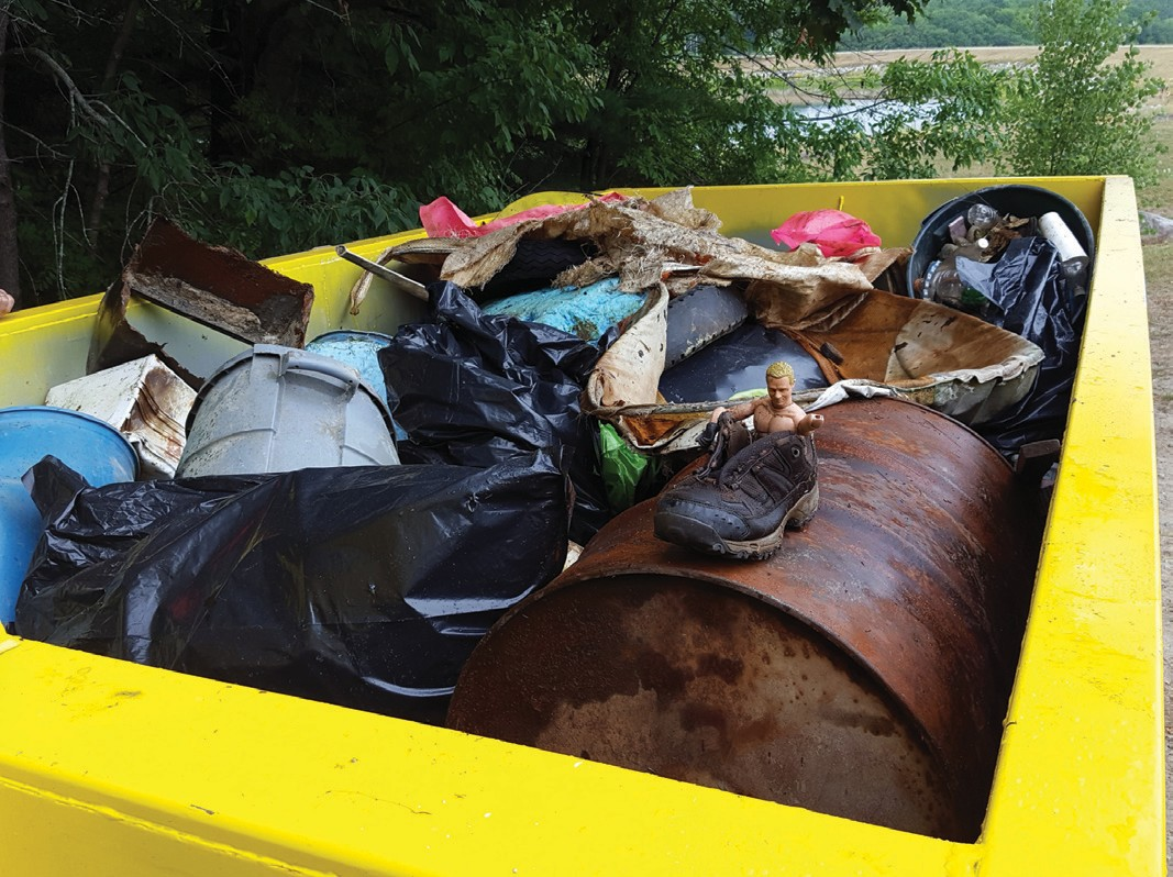 Some of the trash collected in the Saco River during a recent volunteer clean-up.