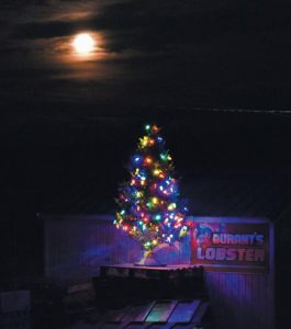 A CHRISTMAS TREE lit up at Durant's Lobster competes with a full moon on a brisk Sunday evening in Cundy's Harbor.