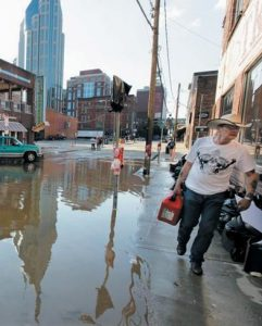 FLOODWATERS FROM the Cumberland River in downtown Nashville, Tennessee.