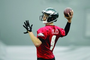 Philadelphia Eagles quarterback Nick Foles throws a pass during practice at the team's NFL football training facility in Philadelphia, Thursday.   AP Newswire