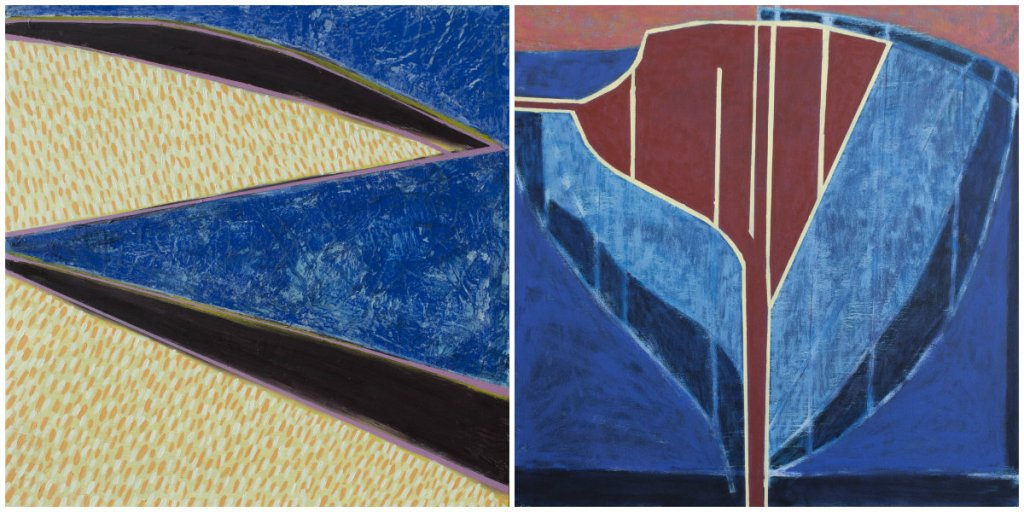 """Left: """"Island Geometry: Sand Beach No. 7,"""" oil and encaustic on panel, 2017, 16 by 16 inches. Right: """"Sea Geometry No. 210,"""" acrylic and oil on canvas, 2017, 24 by 24 inches."""