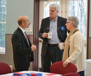 Executive Director Neal Meltzer, left,  discusses the successes and challenges of Waban's programs and services with Maine Reps.  Robert Foley and Patricia Hymanson as part of the MACSP Legislative Bus Tour on Dec. 1. COURTESY PHOTO/Autumn Dupuis