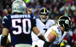 In this Jan. 22, 2017, file photo, Pittsburgh quarterback Ben Roethlisberger calls a play at the line of scrimmage during the AFC championship game against the New England Patriots. AP NEWSWIRE