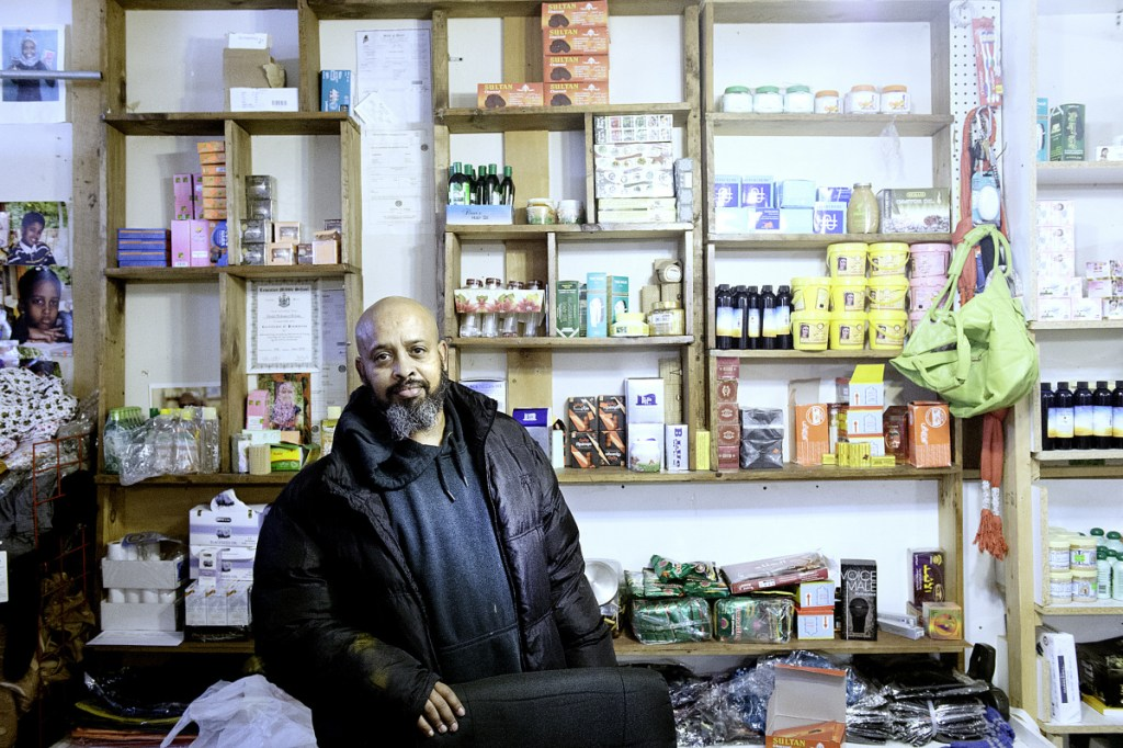 "Mohamed Heban moved to Lewiston in 2002 from Atlanta. He and his wife have raised five children in Lewiston and own the Baraka Store on Lisbon Street. ""It's great,"" Heban said of living in the city. ""The majority of people are good, friendly neighbors."""