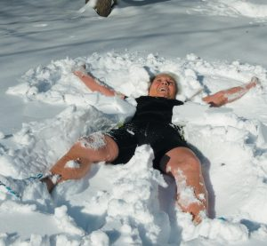 RITA LOSEE OF BRUNSWICK, an athlete who overcame a debilitating illness, had planned to do the Lobster Dip again after a hiatus, but freezing temperatures caused the annual Special Olympics fundraiser to be postponed. So instead, she did a snow angel challenge in her backyard on Tuesday.