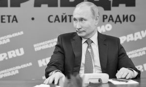RUSSIAN PRESIDENT VLADIMIR PUTIN speaks during a meeting with Russian journalists in the office of Russian popular newspaper Komsomolskaya Pravda in Moscow, Russia, Thursday.