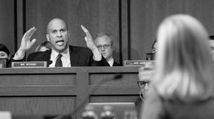 SEN. CORY BOOKER, D-N.J., questions Homeland Security Secretary Kirstjen Nielsen during a hearing before the Senate Judiciary Committee on Capitol Hill, Tuesday, Jan. 16, in Washington.