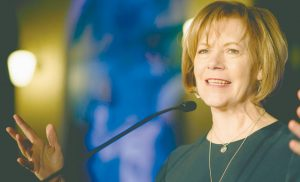 MINNESOTA LT. GOV. TINA SMITH speaks in St. Paul, Minnesota, in this Jan. 10, 2015 file photo. Smith, who was appointed to replace Al Franken following his resignation over accusations of sexual misconduct, was to be sworn in as a U.S. senator today.