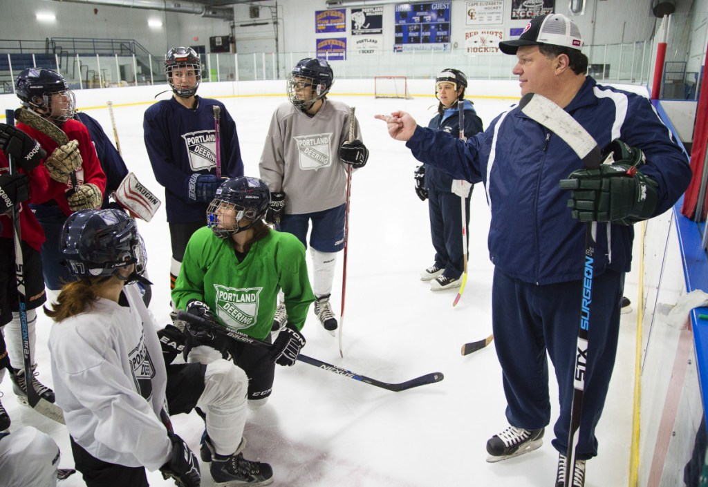 Tom Clifford gets to coach his daughter as the girls' hockey coach for Portland/Deering. His team faces the Stags Wednesday in the South regional final.