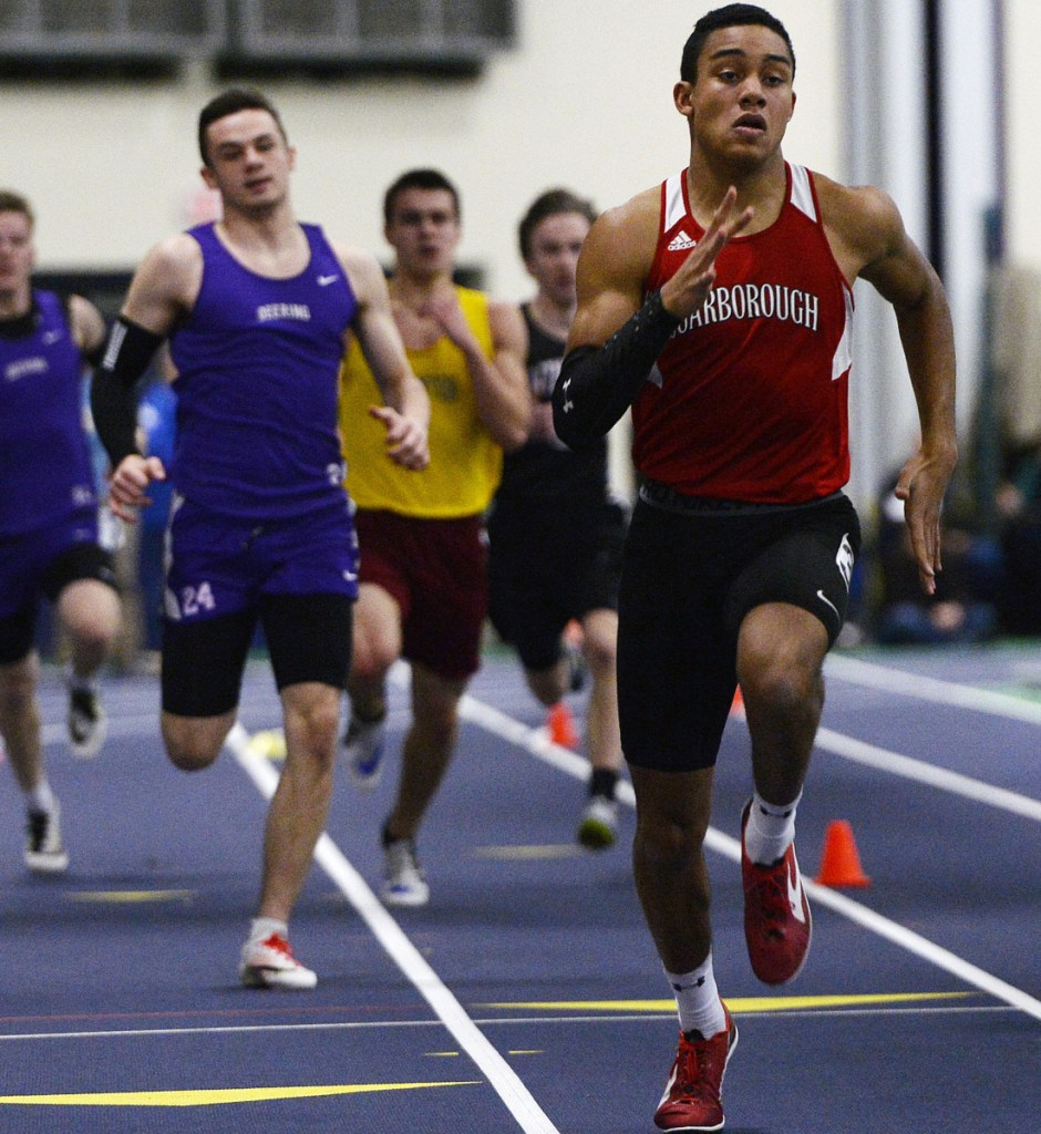 Jarett Flaker of Scarborough enters the Class A indoor track state meet Monday with not only an undefeated season but the fastest time in Maine in three events – the 55, 200 and 400. He could set records in all three. And yes, he's a sophomore.
