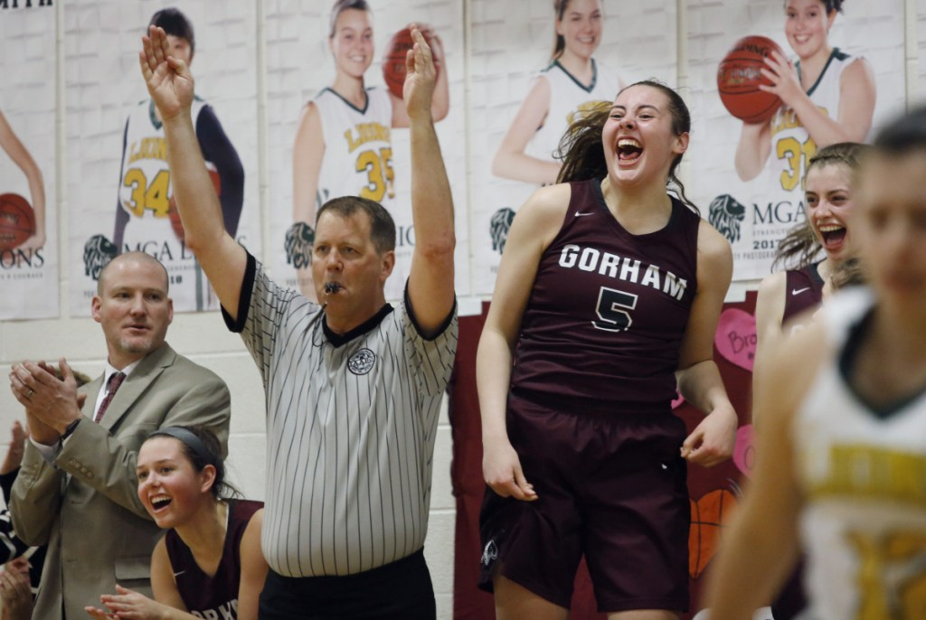 With 6-foot-2 junior Mackenzie Holmes (5) leading the way, Gorham knocked off three higher-seeded teams in the Class AA South tournament - including No. 1 South Portland in the semifinals and No. 2 Scarborough in the regional final.