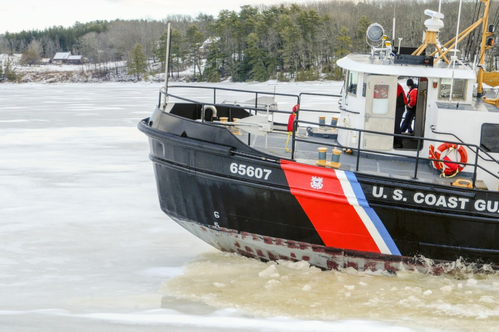U.S. Coast Guard cutter Bridle breaks ice in January on the Kennebec River just south of Chop Point in Woolwich.