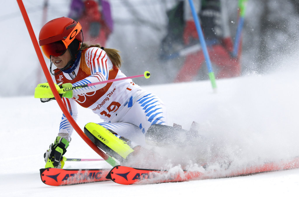 Mikaela Shiffrin competes in the women's combined slalom Thursday at the 2018 Winter Olympics in Jeongseon, South Korea.