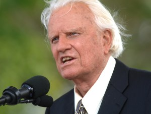 In this June 26, 2005 file photo, the Rev. Billy Graham speaks on stage on the third and last day of his farewell American revival in the Queens borough of New York. A spokesman said on Graham has died at his home in North Carolina at age 99. AP WIREPHOTO