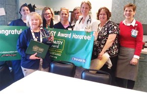 Rose Marie Labrie, a nurse in SMHC's special care unit has been honored with The DAISY Award for Extraordinary Nurses. Labrie (in front) is shown with some of her colleagues. SUBMITTED PHOTO