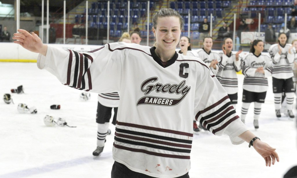 Greely/Gray-New Gloucester forward Courtney Sullivan scored all three of the Rangers' goals in a 3-1 victory over Cheverus/Kennebunk in the 2018 girls' hockey state championship game at the Colisee in Lewiston on Feb. 17. (Photo by John Ewing/Staff Photographer)