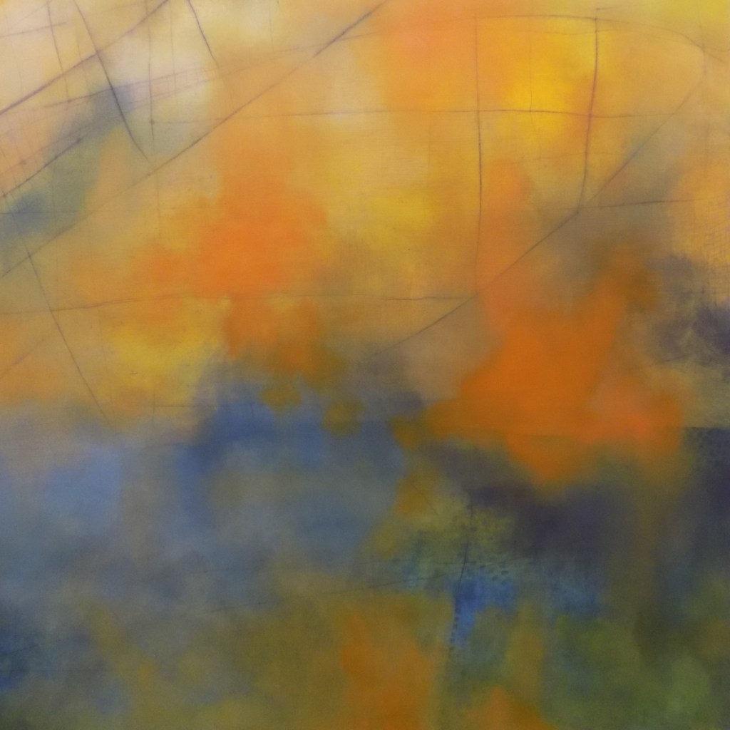"""""""Water Over the Bridge,"""" by Michel Droge, oil on panel, 60 by 60 inches."""