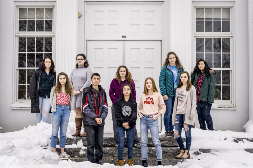 A group of Greely High School students led by Anna Raley, center, is planning a walkout Wednesday as part of the nationwide protest against gun violence following the shooting deaths of 17 people at a high school in Parkland, Fla. From left are Clarissa Campo, 17, senior; Madelaine Panici, 17, junior; Mollie McDonald, 16, junior; Ibrahim Saleh, 16, junior; Kathryn Abel, 18, senior; Raley, 16, sophomore; Emily Stinneford, 15, sophomore; Meghan Abel, 15, sophomore; Adeline Ray, 18, senior; and Safa Saleh, 18, senior.