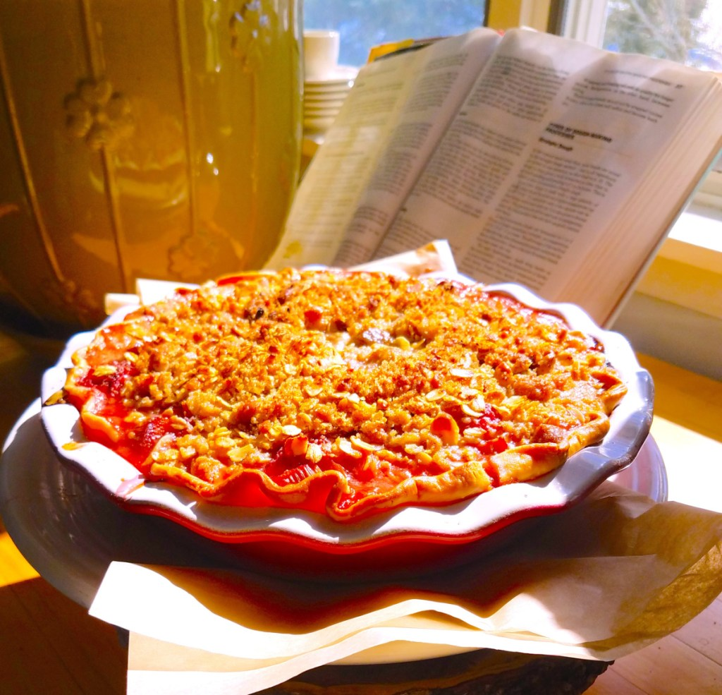Caterer Laura Cabot uses Earth Balance in place of butter in this vegan rhubarb pie.