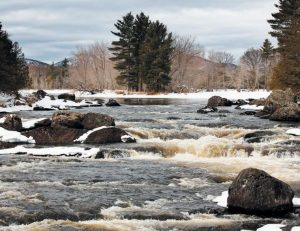 WATER FLOWS THROUGH HASKELL PITCH, a series of drops on the east branch of the Penobscot River in the Katahdin Woods and Waters National Monument in northern Maine earlier this month. The cascades are one of several areas requiring portage for canoeists traveling through the park in warmer months.