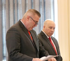 Peter Pelletier, right, entered not guilty pleas to a felony charge of unlawful sexual contact and four misdemeanors at York County Superior Court in Alfred on Monday. He is shown here at his court appearance accompanied by his attorney, William Bly. TAMMY WELLS/Journal Tribune