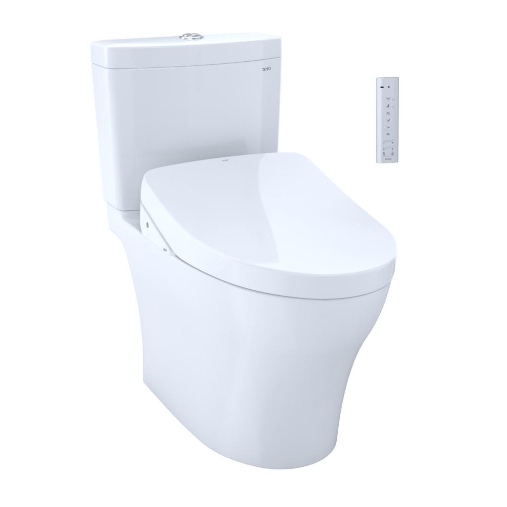 A toilet with a TOTO WASHLET electronic bidet seat.