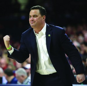 In this Saturday, Jan. 27, 2018 file photo, Arizona head coach Sean Miller in the first half during an NCAA college basketball game against Utah in Tucson, Ariz. The Arizona Board of Regents has scheduled a special meeting on Thursday, March 1, 2018 to get legal advice and discuss the men's basketball program at the University of Arizona and the contract of coach Sean Miller. AP NEWSWIRE