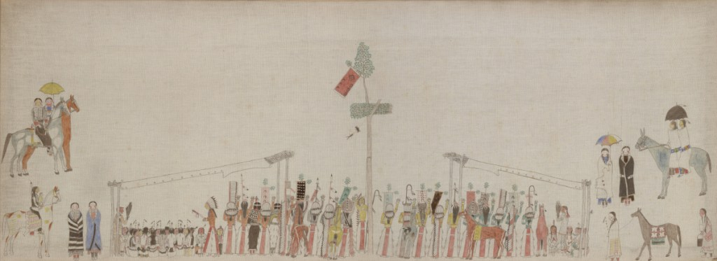 """Sun Dance,"" by an unidentified Lakota artist, ca. 1895, pigments on muslin. The painting is the centerpiece of ""Art from the Northern Plains"" at Bowdoin College."