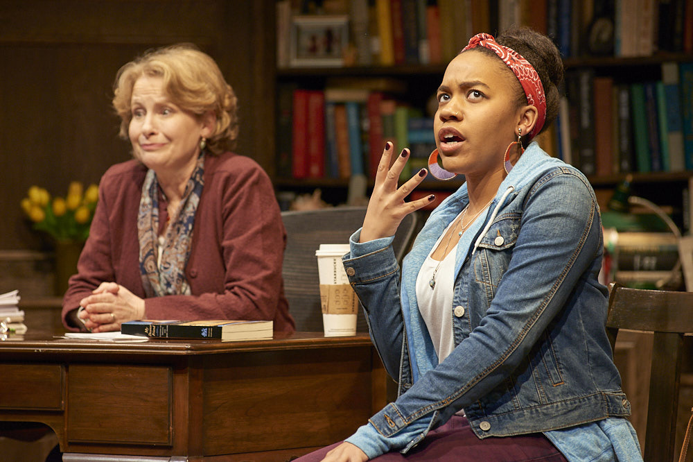 Ivy League college professor Janine Bosko, played by Susan Knight, and student Zoe Reed, played by Alexis Green, share intense debates over political and societal views.