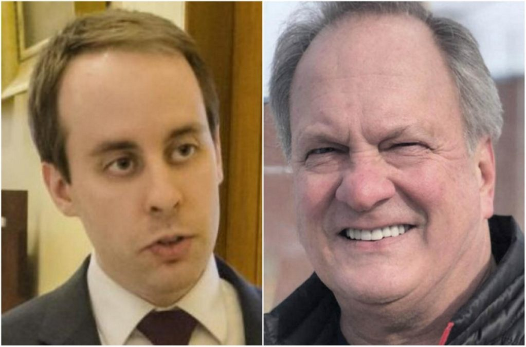 State Sen. Eric Brakey, left, was first to question the nominating papers of Max Linn, his GOP primary rival in the bid to challenge Sen. Angus King.