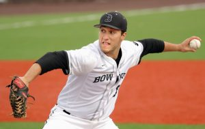 BOWDOIN COLLEGE starting pitcher Max Vogel-Freedman delivers a pitch on Friday against Bates at Colby College in Waterville. Vogel-Freedman went six innings in the Polar Bears' 3-1 victory.