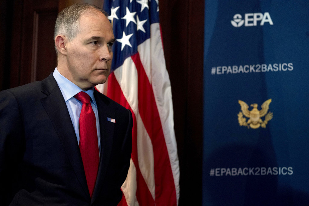 EPA Administrator Scott Pruitt attends an April 3 news conference on his decision to scrap Obama administration fuel standards.