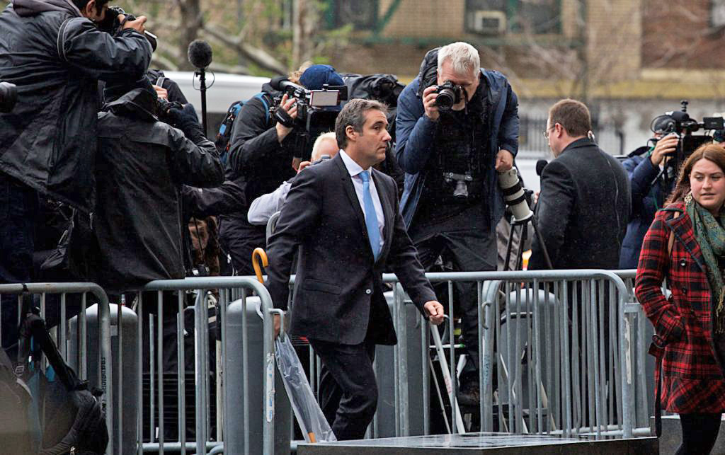 Michael Cohen, personal lawyer to President Trump, arrives at Federal Court in New York on Monday.