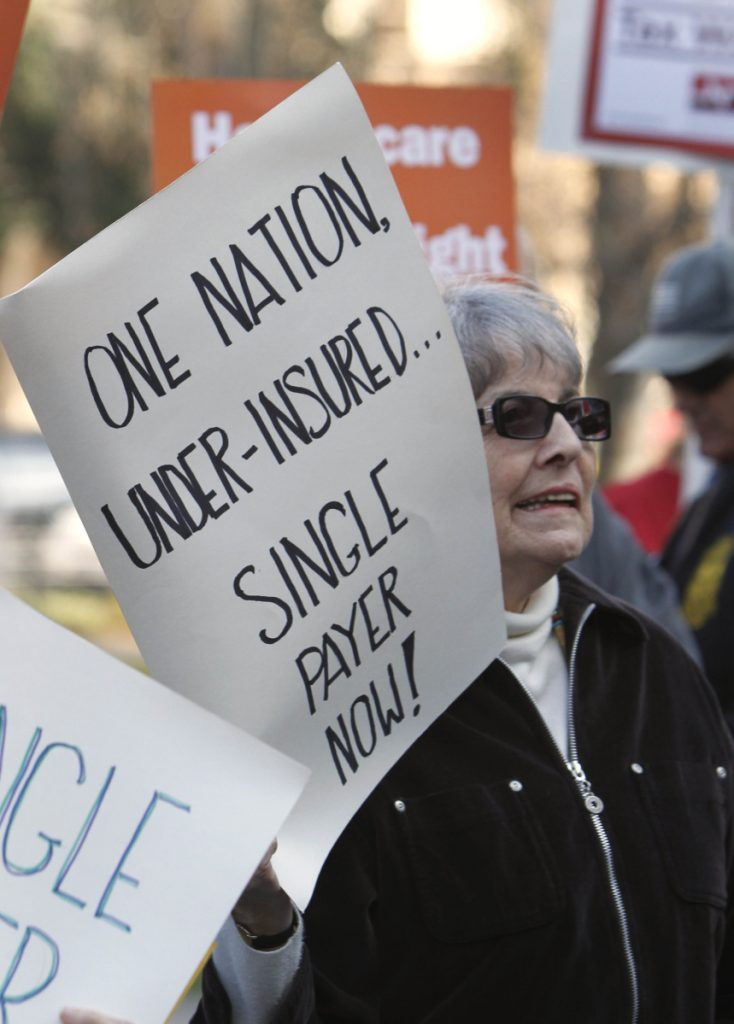 Advocates of a single-payer health care system rally in Sacramento, Calif., in 2012. The U.S. should follow Canada's lead, a writer says.