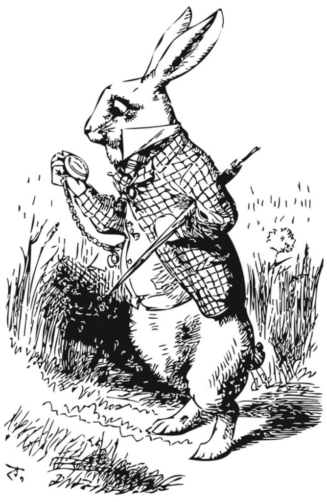 White Rabbit looking at it's watch in the Alice's Adventures in Wonderland original illustrated book.