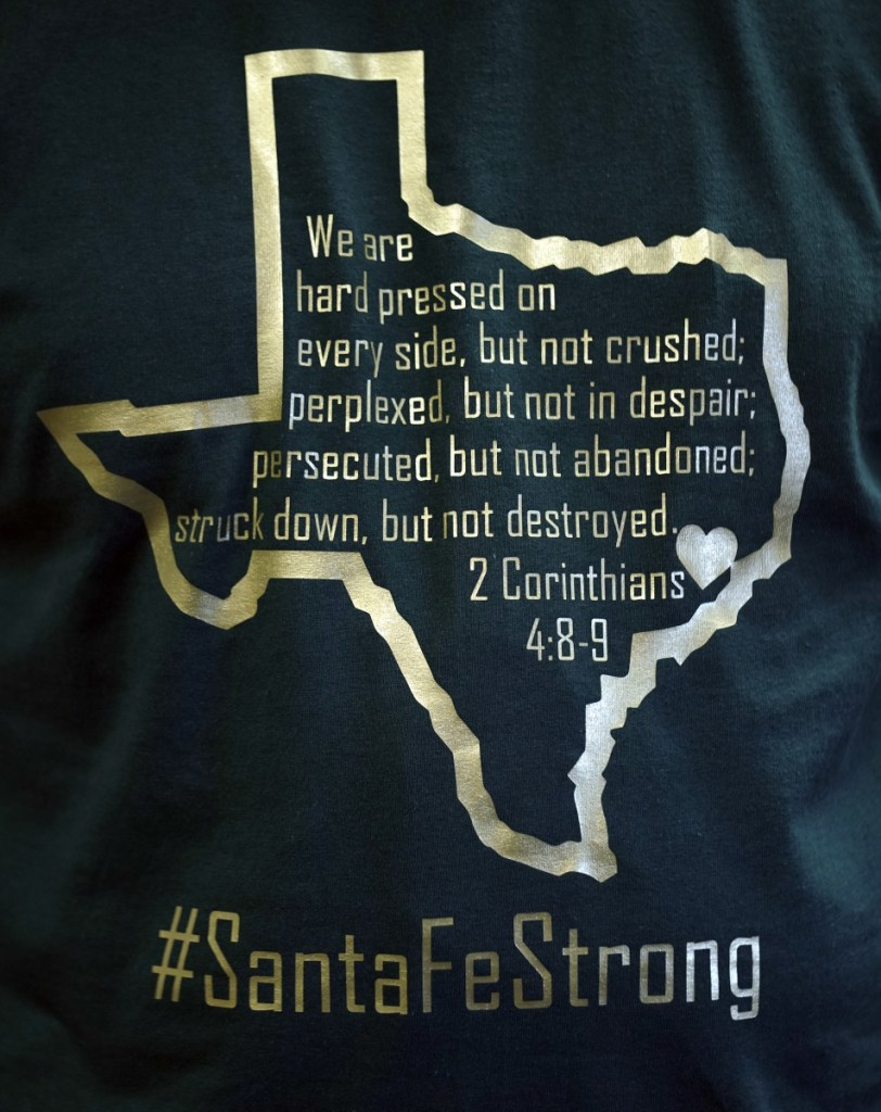Dayspring Church Senior Pastor Brad Drake wears a shirt in support of school shooting victims Sunday in Santa Fe, Texas.