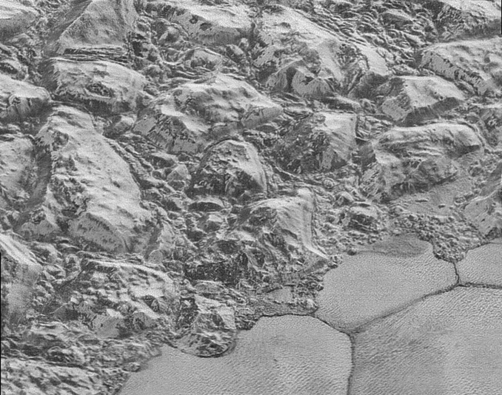 This July 2015 image made by the New Horizons spacecraft shows dunes, small ripples at bottom right, on Pluto.