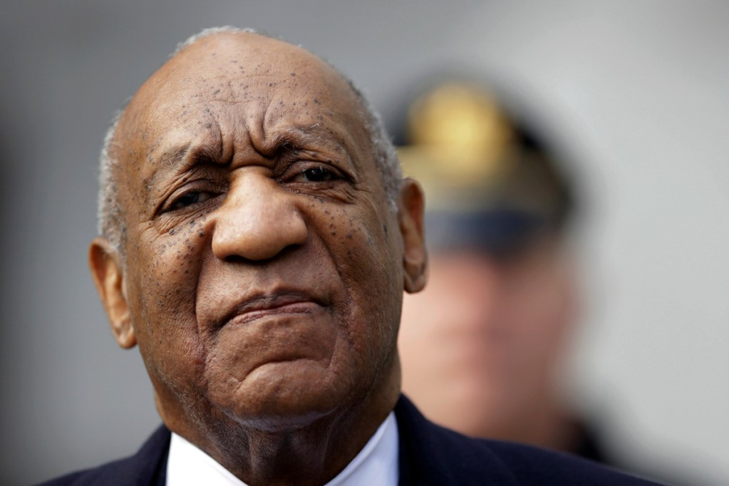 Bill Cosby arrives for his sexual assault trial April 18 at the Montgomery County Courthouse in Norristown, Pa. His conviction last weekhas led more colleges and universities, including Colby College in Waterville, to rescind honorary degrees they gave years ago to the now-disgraced comedian.
