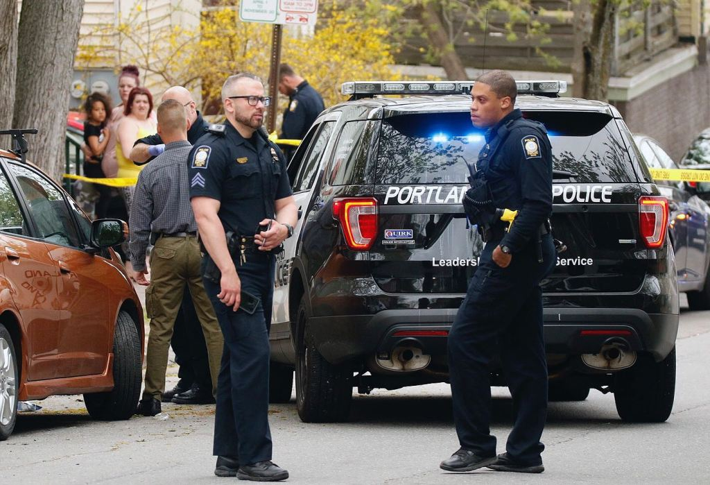 Police on the scene of a shooting on Parris Street in Portland on Sunday morning.