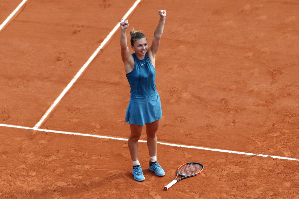Romania's Simona Halep celebrates after she defeated Sloane Stephens of the U.S. during their final match of the French Open at Roland Garros on Saturday in Paris. Halep won 3-6, 6-4, 6-1.