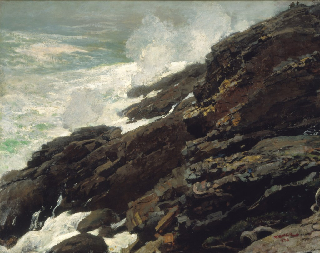 """""""High Cliff, Coast of Maine,"""" 1894, oil on canvas by Winslow Homer."""