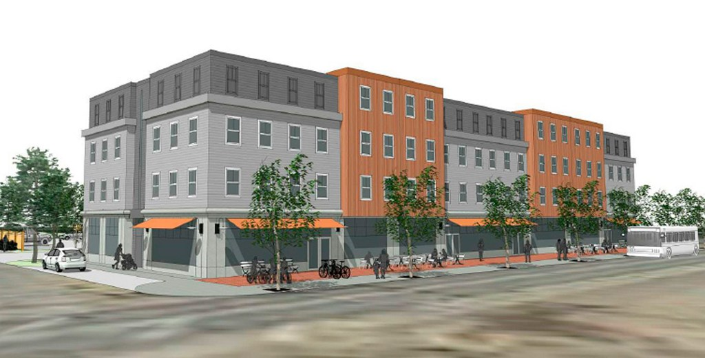 The South Portland Planning Board gave preliminary subdivision approval Wednesday to this 42-unit apartment building with street-level retail at 611 Main St., site of the former St. John the Evangelist Catholic Church. The $9.4 million Thornton Heights Commons is being developed by the South Portland Housing Authority.