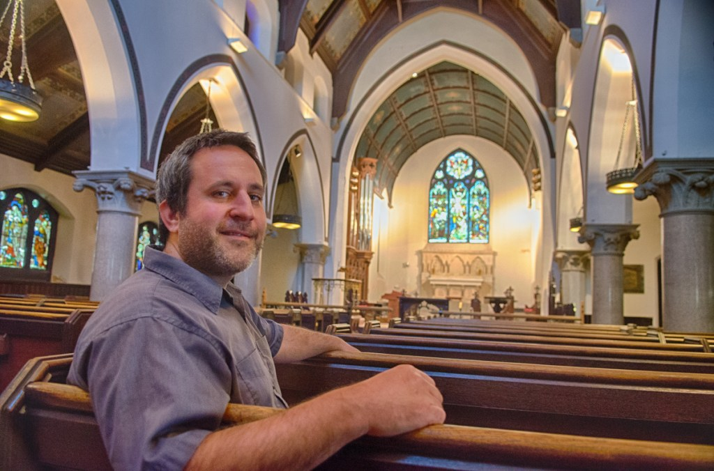 Adam F. Turner sits in the former St. Mark's Episcopal Church on Friday in Augusta.
