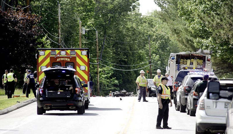 Minot Avenue in Auburn was closed near the Minot line as police reconstructed a motorcycle accident Saturday afternoon.