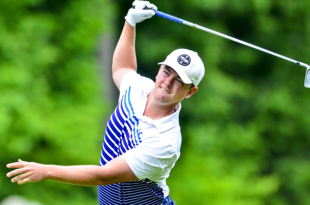 Jack Wyman of South Freeport shot even-par 71 en route to winning the 2018 Maine Amateur Championship at the Belgrade Lakes Golf Club on Thursday. It's the second consecutive Maine Amateur title for Wyman. (Staff photo by Joe Phelan/Kennebec Journal)