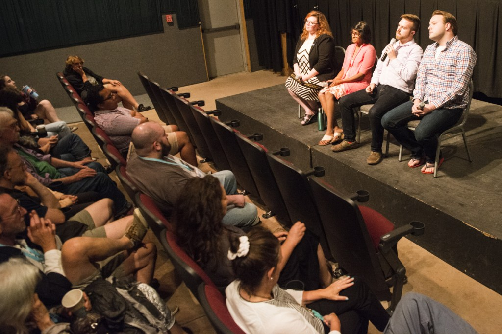 "From left, Rep. Colleen Madigan, D-Waterville; Oamshri Amarasingham, policy director at the ACLU of Maine; Rep. Ryan Fecteau, D-Biddeford; Rep. Matthew Moonen, D-Portland and director of Equality Maine, speak during a panel discussion Tuesday at Railroad Square Cinemas in Waterville after a screening of the film ""The Miseducation of Cameron Post"" at the Maine International Film Festival. The film addresses conversion therapy, a practice that attempts to change a person's sexual orientation or gender identity."