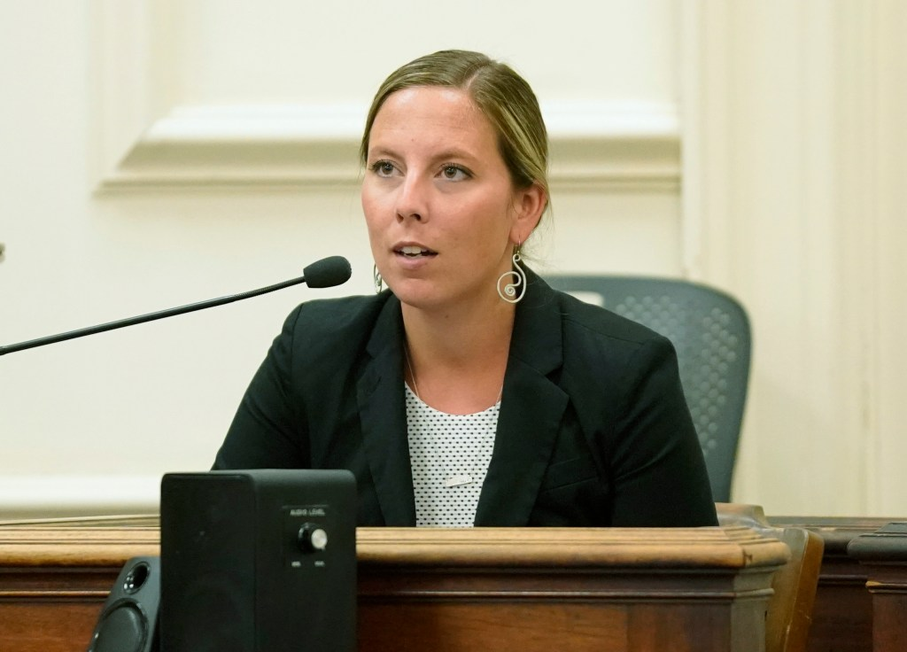 Former Kennebunk High School teacher Jill Lamontagne answers questions from her attorney Scott Gardner while on the witness stand during her trial at York County Superior Court on Wednesday, July 25, 2018.