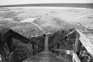 IN A PHOTO taken at Nauset Beach in Orleans, Massachusetts, a boardwalk leads down to the beach where a German World War I submarine attack took place off the shore in July 1918. THE ASSOCIATED PRESS
