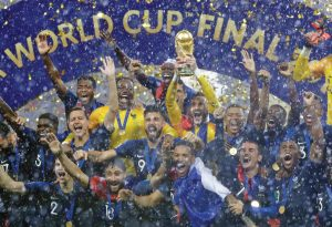 FRANCE GOALKEEPER Hugo Lloris holds the trophy aloft after the final match between France and Croatia at the 2018 soccer World Cup in the Luzhniki Stadium in Moscow on Sunday. France won the final, 4-2. THE ASSOCIATED PRESS